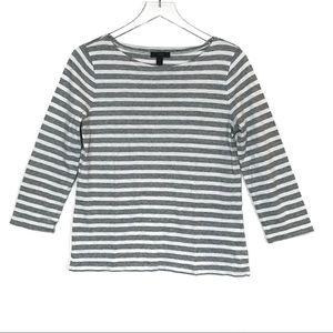 J. Crew Stripped Boatneck 3/4 Sleeve Tee Shirt S